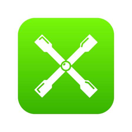 Spanner icon green vector isolated on white background  イラスト・ベクター素材