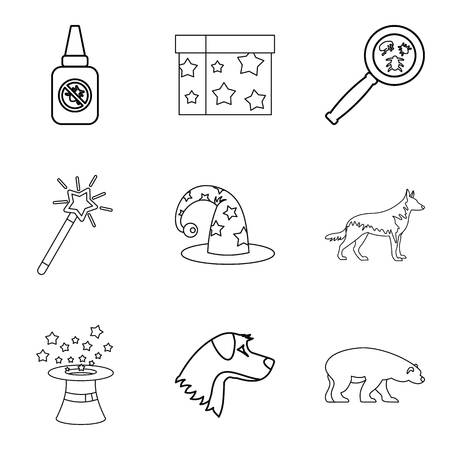Zoo fun icons set. Outline set of 9 zoo fun vector icons for web isolated on white background Ilustração