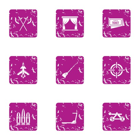 Exhibition of medieval icons set. Grunge set of 9 exhibition of medieval vector icons for web isolated on white background Illustration
