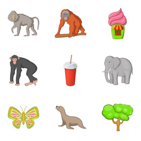 Animal kind icons set. Cartoon set of 9 animal kind vector icons for web isolated on white background