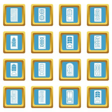 Door icons set vector illustration Çizim
