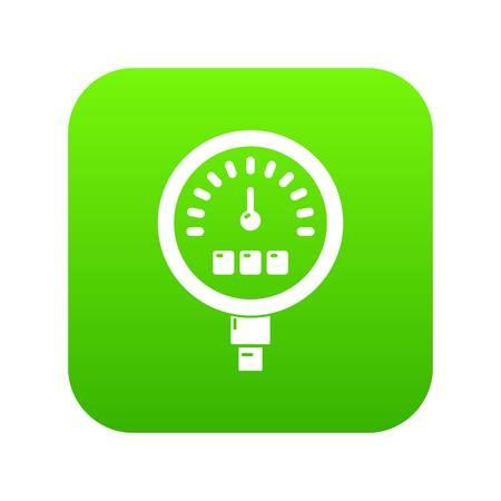 Medidor de presión icono verde digital Ilustración de vector