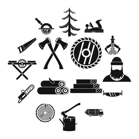 Timber industry simple style icons set.