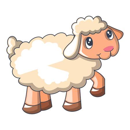 Funny sheep cartoon style icon