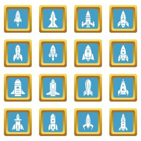 Rocket icons set sapphirine square Illustration