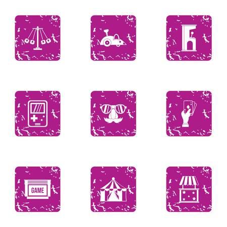 Street game icons set, grunge style
