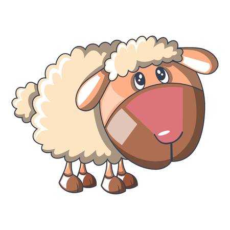 Sad sheep icon, cartoon style