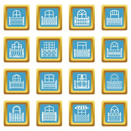 Balcony window icons set sapphirine square vector Stock Illustratie