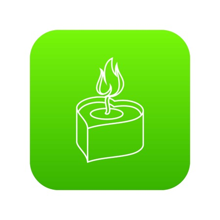 Heart candle icon green vector