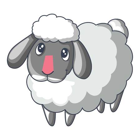 Cute sad sheep icon, cartoon style Vectores