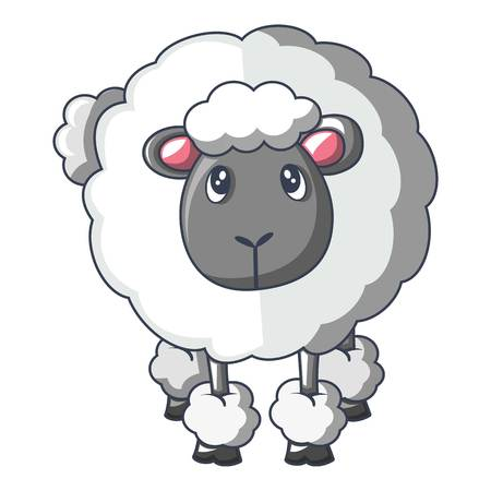 Front of sheep icon, cartoon style