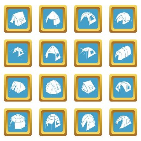 Tent forms icons set sapphirine square vector