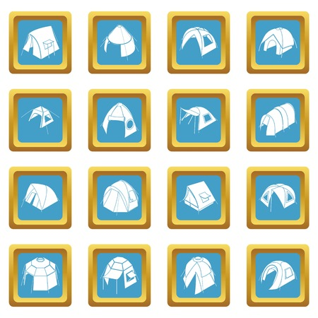 Tent forms icons set sapphirine square vector