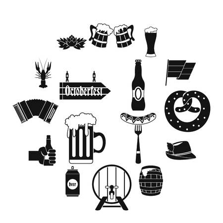 Oktoberfest icons set, simple style