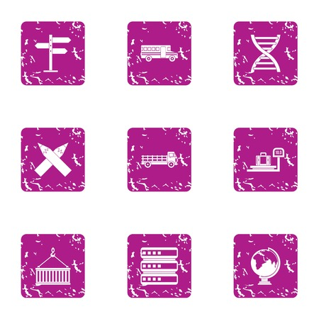 Sturdy material icons set, grunge style