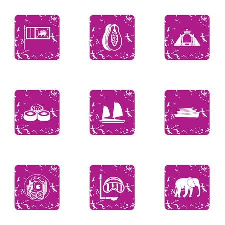 Elite rest icons set, grunge style
