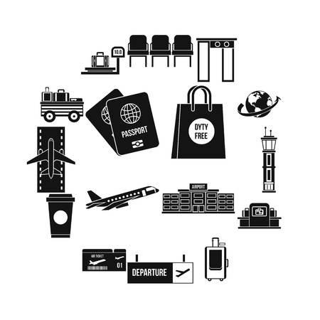 Airport icons set, simple style Ilustração
