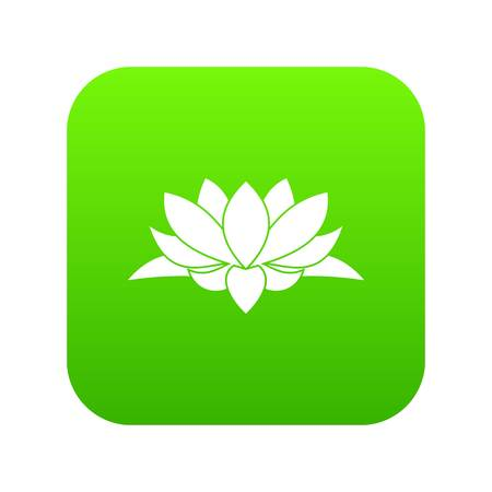 Lotus flower icon digital green