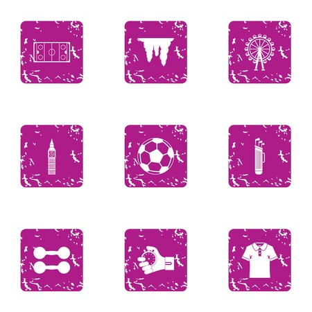 Sport commerce icons set, grunge style