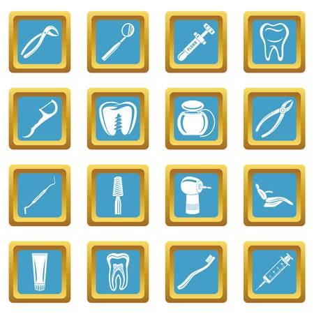 Dentist stomatologist icons set sapphirine square vector