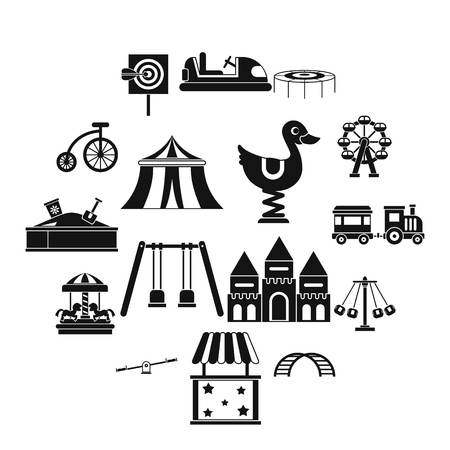 Amusement park icons set, simple style Stock Illustratie