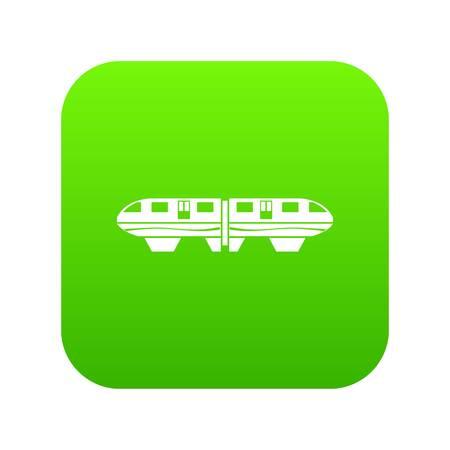 Monorail train icon digital green