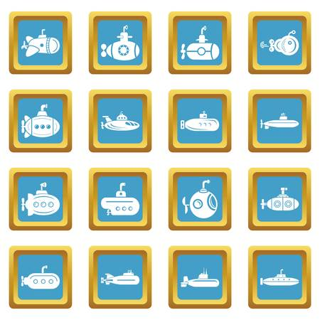 Submarine icons set sapphirine square vector