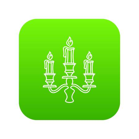 Candelabra candle icon green vector