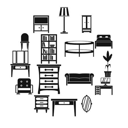 Furniture icons set, simple style 일러스트