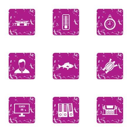 Park business icons set, grunge style  イラスト・ベクター素材