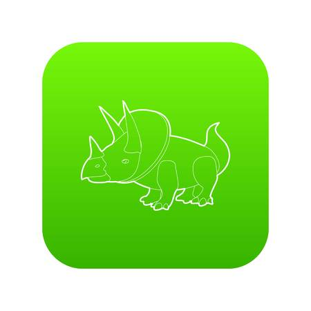 Triceratops icon green vector Illustration
