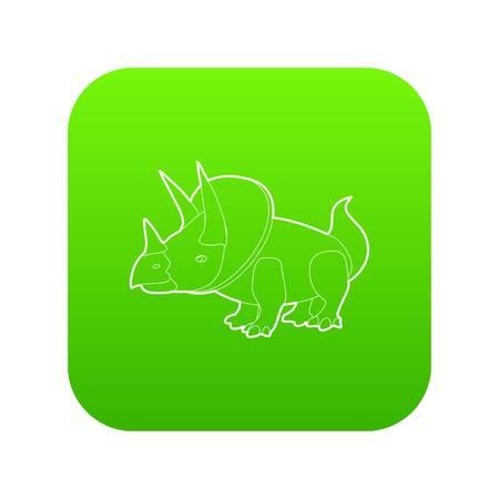 Triceratops icon green vector Illustration