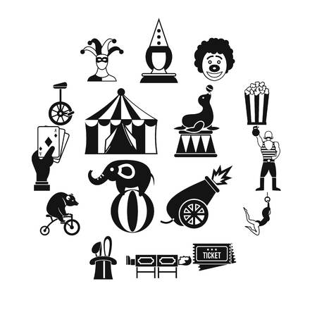 Circus entertainment icons set, simple style Illustration
