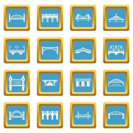 Bridge icons set sapphirine square vector
