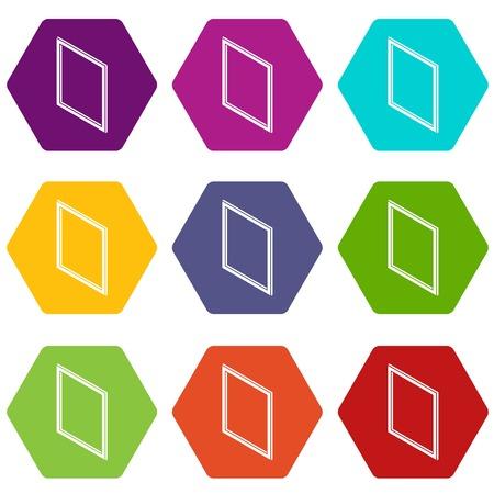 Metal-plastic window frame icons set 9 vector Illustration