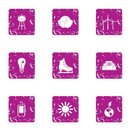 Cohesion icons set, grunge style Vettoriali
