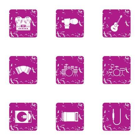 Philharmonic icons set, grunge style