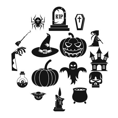 Halloween icons set, simple style