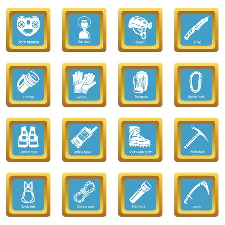 Speleology equipment icons set sapphirine square vector Vectores