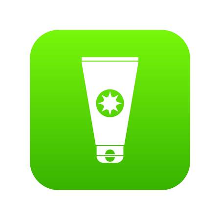 Tube with sunbathing cream icon digital green for any design isolated on white vector illustration