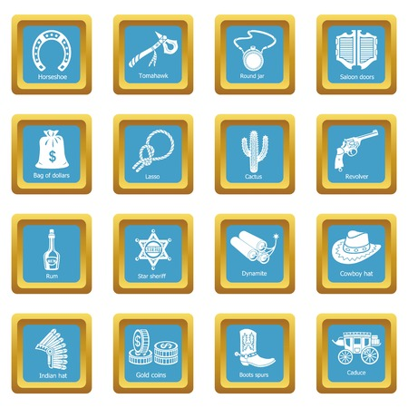 Wild west icons set vector sapphirine square isolated on white background