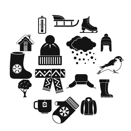 Winter icons set in simple style. Winter season elements set collection vector illustration  イラスト・ベクター素材