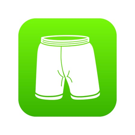 Shorts icon green vector isolated on white background Illustration
