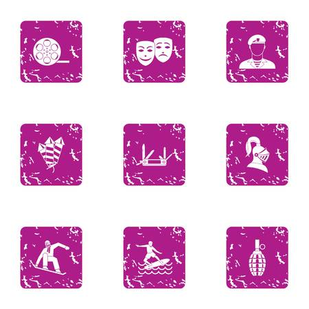 Stuntman icons set. Grunge set of 9 stuntman vector icons for web isolated on white background Illustration