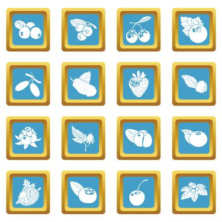 Berries icons set vector sapphirine square isolated on white background