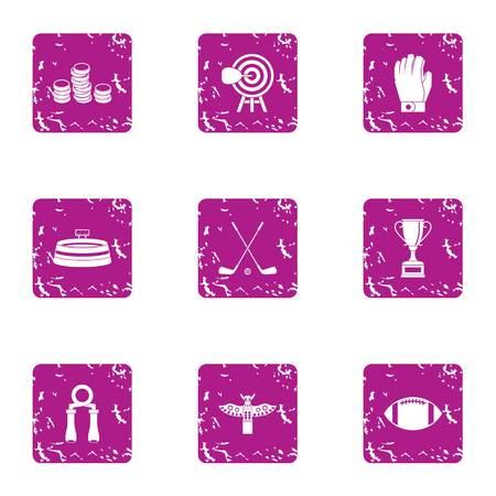 Sport salary icons set, grunge style Illusztráció