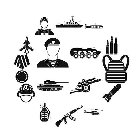 War icons set in simple style. Military equipment set collection vector illustration Illustration