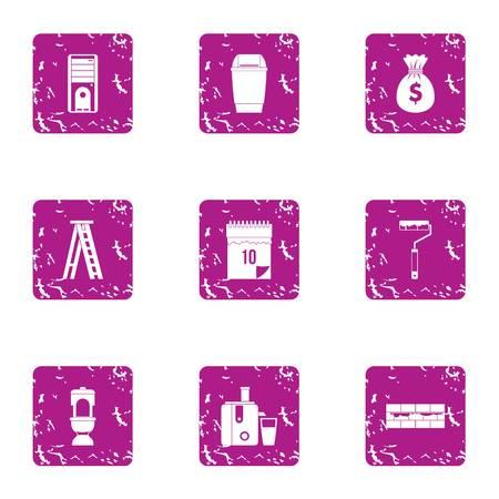 Trimming icons set, grunge style Illustration