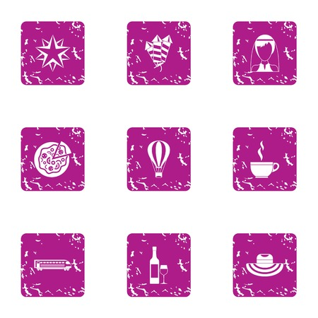 Food fun icons set. Grunge set of 9 food fun vector icons for web isolated on white background