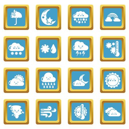Weater icons set vector sapphirine square isolated on white background
